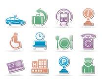 Iconos 2 del aeropuerto, del recorrido y del transporte stock de ilustración