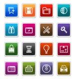 Iconos 2 del Web y del Internet - serie de la etiqueta engomada Foto de archivo libre de regalías
