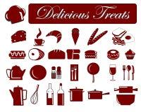 Iconos 5 del alimento Imágenes de archivo libres de regalías