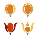 Iconos abstractos coloridos de la flor del tulipán Foto de archivo