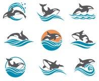 Iconos abstractos de la ballena fijados Imagen de archivo libre de regalías