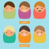 Iconos abstractos de la historieta Sistema del vector de caracteres con emociones felices e infelices Imagen plana Imagenes de archivo