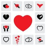 Iconos abstractos del corazón (muestras) para curar, amor, felicidad Imagen de archivo libre de regalías