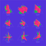 Iconos abstractos del vector 9 en estilo poligonal geométrico Fotografía de archivo