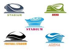 Iconos abstractos modernos de los estadios y de las arenas del deporte stock de ilustración
