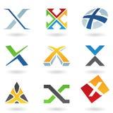 Iconos abstractos para la carta X Imagenes de archivo