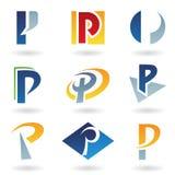 Iconos abstractos para la letra P Imagenes de archivo