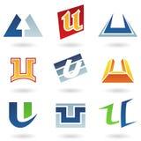 Iconos abstractos para la letra U stock de ilustración