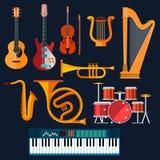 Iconos acústicos y eléctricos de los instrumentos musicales Foto de archivo