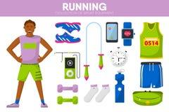 Iconos accesorios del vector de deporte del equipo de maratón del corredor de la ropa corriente del hombre fijados ilustración del vector