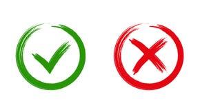 Iconos ACEPTABLES y rojos de la marca de cotejo verde de X, ilustración del vector