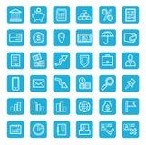 Iconos, actividades bancarias, finanzas, moneda, dinero, servicio, esquema blanco, fondo azul Fotos de archivo libres de regalías