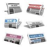 Iconos aislados vector diario de las noticias del periódico ilustración del vector