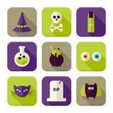 Iconos ajustados bruja asustadiza plana de Halloween App fijados Imagen de archivo