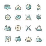 Iconos al aire libre de la vida stock de ilustración