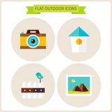 Iconos al aire libre del sitio web de la naturaleza plana fijados Foto de archivo