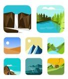 Iconos al aire libre fijados Imagen de archivo libre de regalías