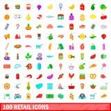 100 iconos al por menor fijados, estilo de la historieta Foto de archivo libre de regalías