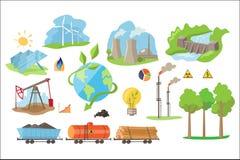 Iconos alternativos de la producción de electricidad Fuentes ambientalmente respetuosas del medio ambiente de poder Elementos pla Foto de archivo libre de regalías