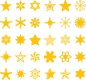 Iconos amarillos de la estrella Imagen de archivo libre de regalías