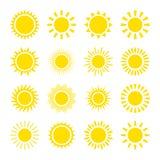 Iconos amarillos del sol Fotografía de archivo libre de regalías