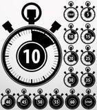 Iconos análogos fijados, vector del contador de tiempo Fotos de archivo