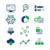 Iconos analíticos de los datos fijados Imágenes de archivo libres de regalías
