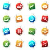Iconos analíticos y sociales de los datos de la red Imagen de archivo libre de regalías