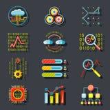 Iconos analíticos del servidor del sitio web de los datos en elegante Imágenes de archivo libres de regalías