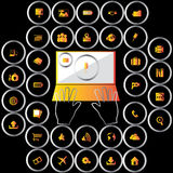 Iconos anaranjados de la oficina en círculo metálico Fotos de archivo