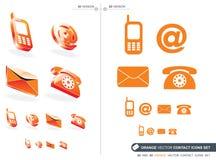 Iconos anaranjados del contacto fijados Fotos de archivo