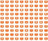Iconos anaranjados del mensaje del deporte fijados Fotos de archivo