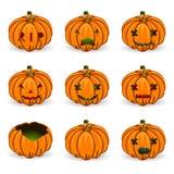 Iconos anaranjados del vector de los pumkins de Halloween fijados Fotos de archivo