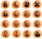 Iconos anaranjados del Web de los glaas, botones Imágenes de archivo libres de regalías