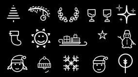 Iconos animados de la Navidad, paquete cuatro stock de ilustración