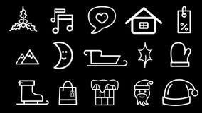 Iconos animados de la Navidad, paquete tres ilustración del vector
