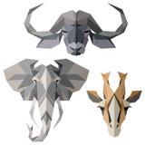 Iconos animales africanos, sistema del icono del vector Estilo triangular abstracto Imagen de archivo libre de regalías