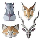 Iconos animales africanos, sistema del icono del vector Estilo triangular abstracto Imágenes de archivo libres de regalías