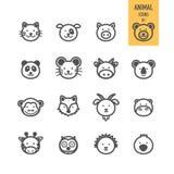Iconos animales de la cara fijados Foto de archivo libre de regalías