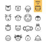 Iconos animales de la cara fijados Imagen de archivo