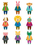 Iconos animales del oficinista de la historieta Imagen de archivo libre de regalías