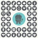 Iconos animales divertidos fijados Imagen de archivo libre de regalías