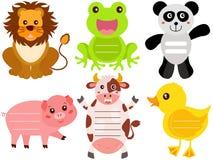 Iconos animales lindos/etiqueta/escritura de la etiqueta Imagen de archivo
