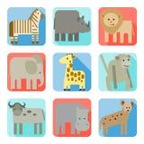 Iconos, animales salvajes de África ilustración del vector
