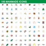 100 iconos artificiales fijados, estilo de la historieta Imágenes de archivo libres de regalías