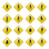 Iconos atractivos amarillos de la muestra de las muchachas Imágenes de archivo libres de regalías