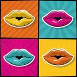 Iconos atractivos del arte pop de los labios ilustración del vector