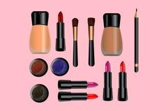 Iconos atractivos del maquillaje fijados - vector stock de ilustración