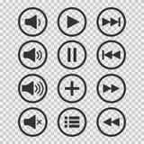 Iconos audios Botones de los sonidos Botón de reproducción Muestra de la pausa Símbolo para el web o el app Ilustración del vecto ilustración del vector