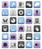 Iconos audios/video y de los multimedia fijados Imagen de archivo